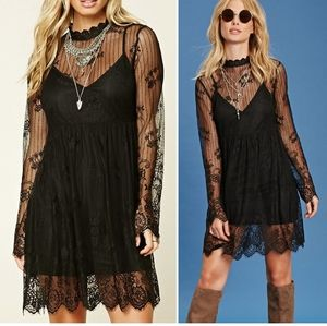 Sheer Black Lace Embroidered Babydoll Dress